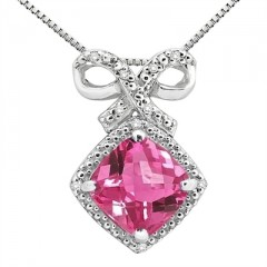 2.67Ct Cushion Shaped Pink Topaz and Diamond Pendant in 10K Gold