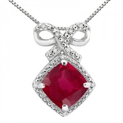 2.67Ct Cushion Shaped Lab Created Ruby and Diamond Pendant in 10K Gold