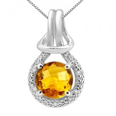 2.48Ct Round Shaped Citrine and Diamond Pendant in 10K Gold