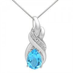 9.35Ct Pear Shaped Blue Topaz and Diamond Pendant in 10K Gold