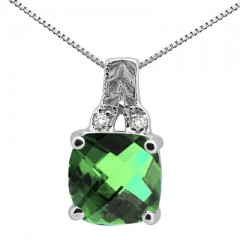 2.75Ct Cushion Shaped Lab Created Emerald and Round Shaped Diamond Pendant in 10K Gold
