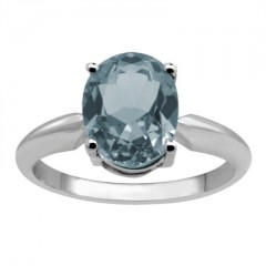 0.65Ct Oval Aquamarine Solitaire Ring in 14k Gold