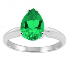 0.93Ct Pear Emerald Solitaire Ring in 14k Gold