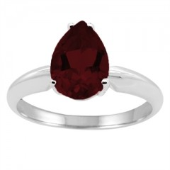 0.90Ct Pear Garnet Solitaire Ring in 14k Gold