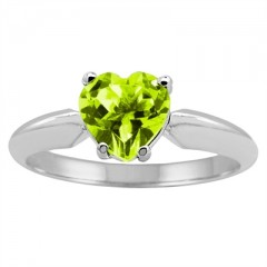 0.65Ct Heart Peridot Solitaire Ring in 14k Gold
