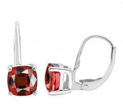 Cushion Cut Leverback Garnet Earrings in 14k Gold