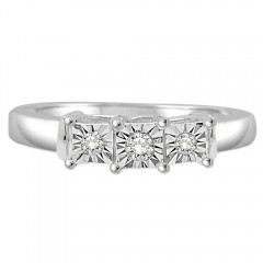 0.15CT Three Stone Diamond Ring in 925 Sterling Silver