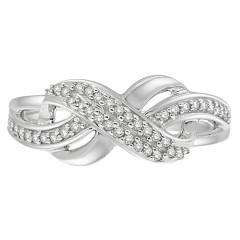 0.20CT Diamond Twist Ring in 925 Sterling Silver