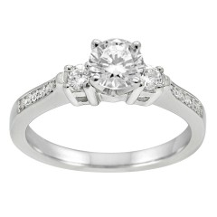 1.00CT Three Stone Diamond Engagement Ring in 14k White Gold