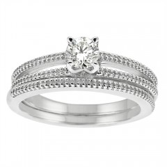 0.50CT Diamond Bridal Ring Set in 14k White Gold