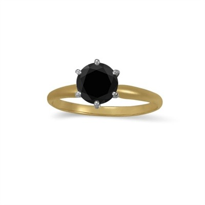 1.00 CT Black Diamond Solitaire Ring in 14K Yellow Gold