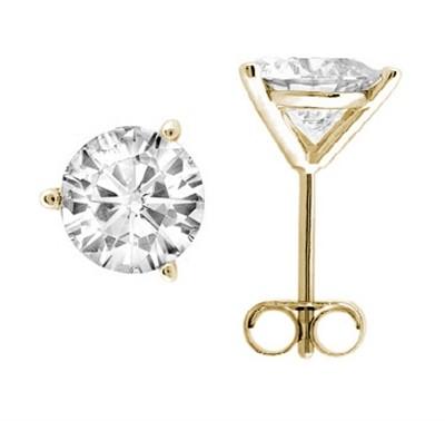0.10 CTW Round Diamond Martini-set Stud Earrings in 14K Yellow Gold