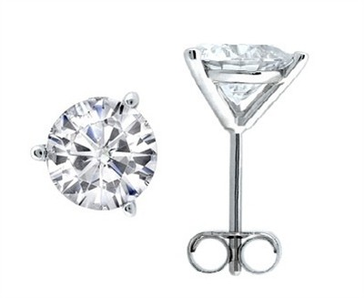 1.00 CTW Round Diamond Martini-set Stud Earrings in 14K White Gold