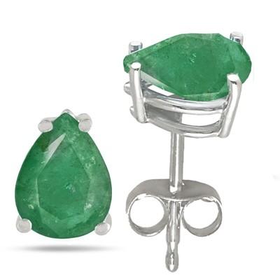 1.12Ct Pear Emerald Earrings in Sterling Silver