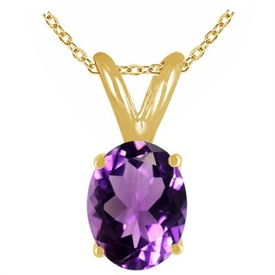 0.22Ct Oval Amethyst Pendant in 14k Yellow Gold
