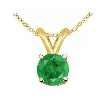 0.28Ct Round Emerald Pendant in 14k Yellow Gold