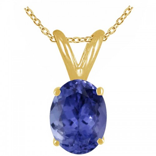 0.43Ct Oval Tanzanite Pendant in 14k Yellow Gold