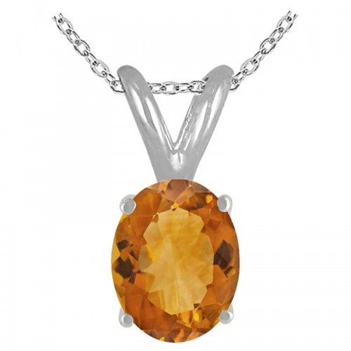 0.45Ct Oval Citrine Pendant in Sterling Silver Gold