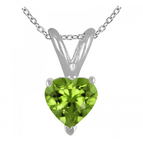 0.65Ct Heart Peridot Pendant in 14k White Gold