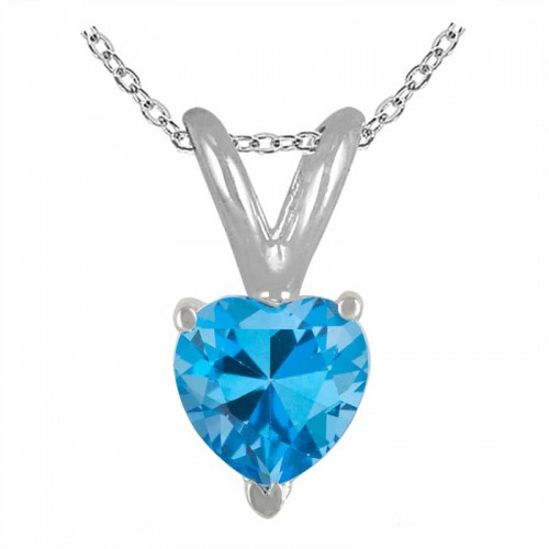 0.80Ct Heart Blue Topaz Pendant in Sterling Silver Gold