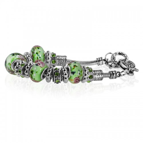 Green Rose Desing Murano Glass Type Beed and CZ Peridot Crystal Bracelet, 7.5""