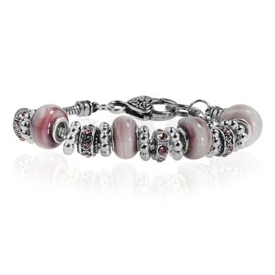 """Light Pink Murano Glass Type Beed and Pink Crystal Bracelet, 7.5"""""""