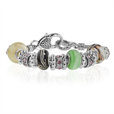 """Multi Color Murano Glass Type Beed and Pink Crystal Bracelet, 7.5"""""""