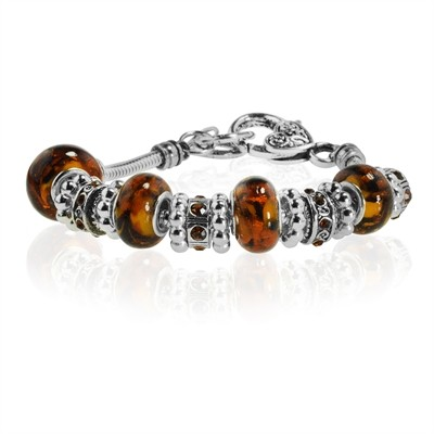 "Tiger Eye Murano Glass Type Beed and CZ Garnet Crystal Bracelet, 7.5"""