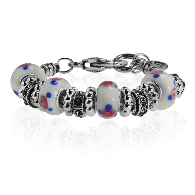 White and Blue Dotted Murano Glass Type Beed and CZ Amethyst Crystal Bracelet, 7.5""