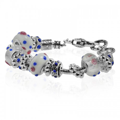 White Murano Glass Type Beed and Blue Crystal Bracelet, 7.5""