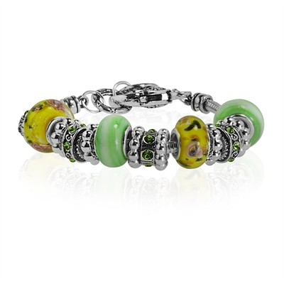 Yellow and Light Green Murano Glass Type Beed and Green Crystal Bracelet, 7.5""