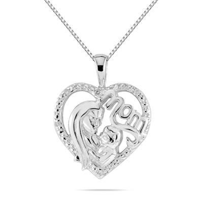 Diamond Mother and Baby Pendant in .925 Sterling Silver