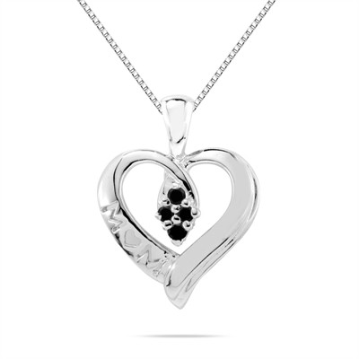 Black Diamond Mom Pendant in 10K White Gold