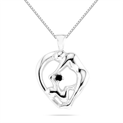 Mom and Child Black Diamond Pendant in 10K White Gold