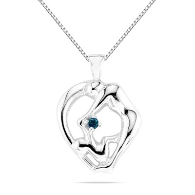 Mom and Child Blue Diamond Pendant in 10K White Gold
