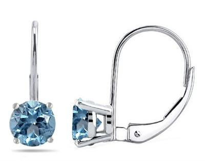 0.92Ct Round Aquamarine Leverback Earrings in 14k White Gold
