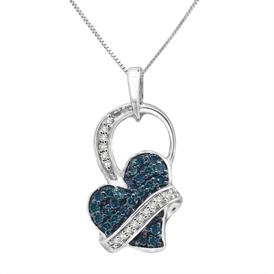 1/3 Ct Blue And White Diamond Heart Pendant In Sterling Silver