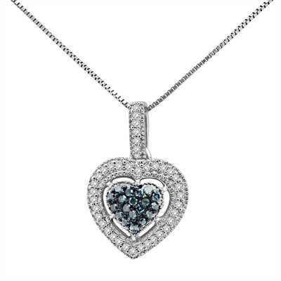 1/4 Ct Blue And White Diamond Heart Pendant In Sterling Silver