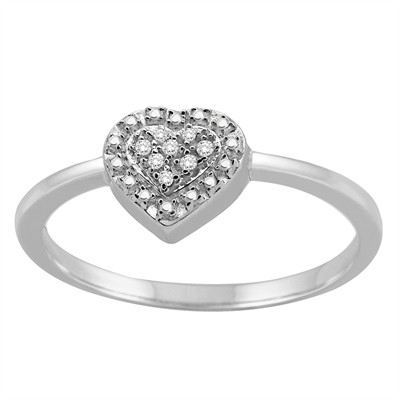 0.03Ct White Diamond Heart Ring in Sterling Silver