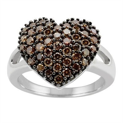 1Ct Brown Diamond Heart Ring in Sterling Silver