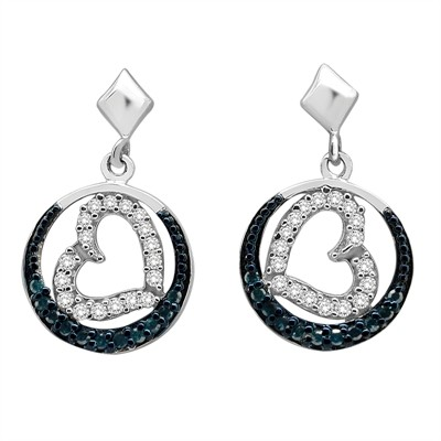 1/2 Ct Blue and White Diamond Heart Earring in Sterling Silver
