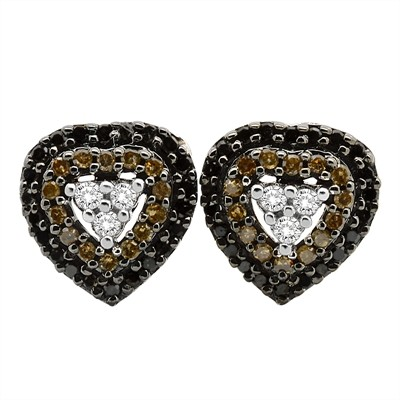 1/2 Ct Black, Brown and White Diamond Three Row Heart Earring In Sterling Silver