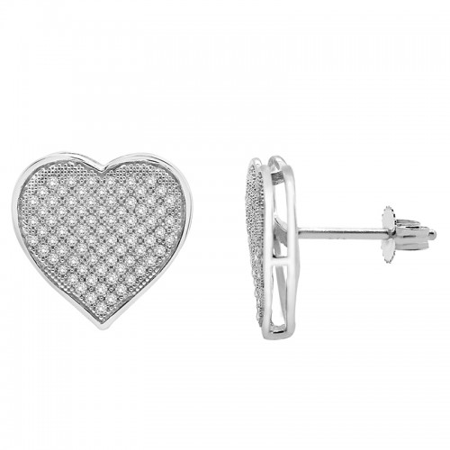 1/2 Ct White Diamond Pave Heart Earring in Sterling Silver