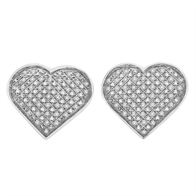 1/4 Ct White Diamond Pave Heart Earring in Sterling Silver