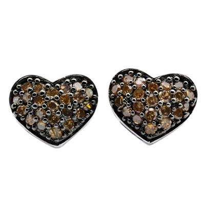 3/8 Ct Brown Diamond Heart Earring in Sterling Silver