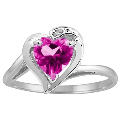 Heart Shaped Pink Topaz and Diamond Ring in 10K Gold