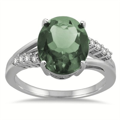 Oval Shaped Green Amethyst and Diamond Ring in 10K Gold