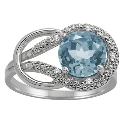 Aquamarine and Diamond Love Knot Ring in 10K Gold