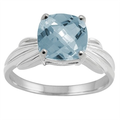 Cushion Cut Aquamarine Ring in 10K Gold