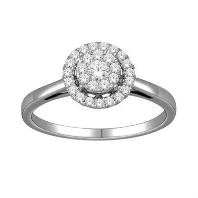 10k White Gold 1/3ct TDW Halo Diamond Ring (H-I, I2)